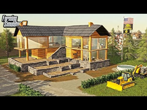 BUILDING A $600,000 LOG MANSION! + OUTDOOR POOL & THEATER ROOM | FARMING SIMULATOR 2019