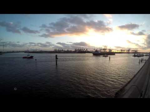 Hamburg Harbor Sunrise Sunset Timelapse