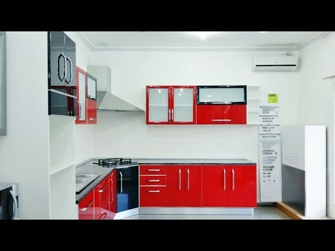 Cuisine moderne rouge noir youtube for Decoration cuisine moderne
