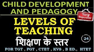 Child Development and Pedagogy - Levels of teaching शिक्षण के स्तर