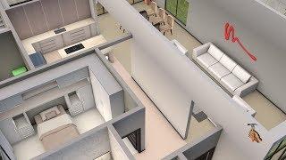 Planta 3D com três Quartos,  Suite, Closet e Cozinha Americana