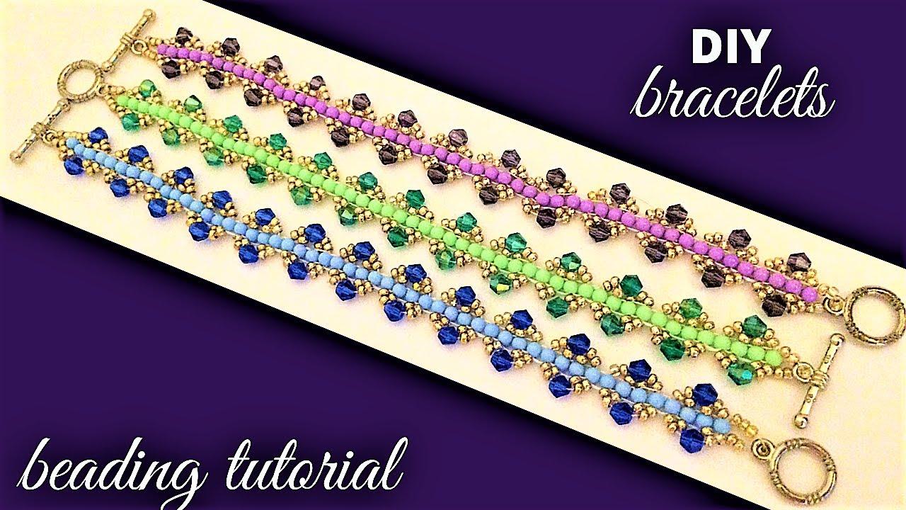 Easy beading pattern. Beaded bracelets tutorial.  Handmade Jewelry