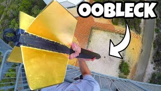 GIANT DART Vs. OOBLECK from 45m! by : How Ridiculous