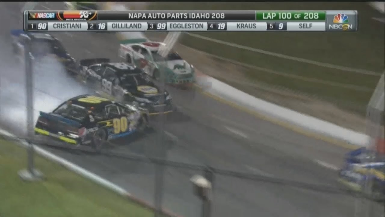 NASCAR K&N Pro Series West 2017  Meridian Speedway  Trevor Cristiani Crash