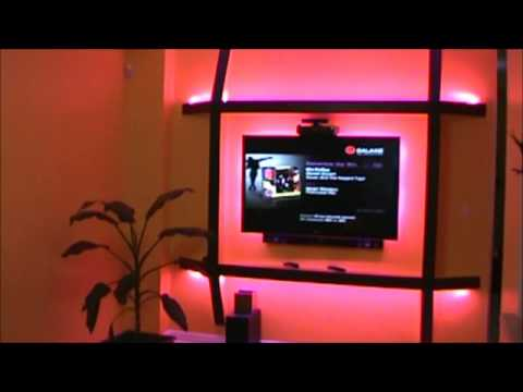 Wall Led Tv : TV wall mount with LED backlighting - YouTube