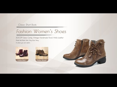 e1b05ad1acac8 Designer Socofy SOCOFY Sooo Comfy Vintage Handmade Floral Ankle Leather  Boots - NewChic