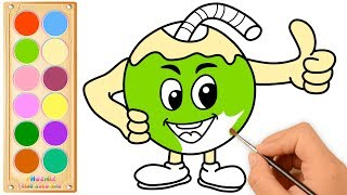 Cute Cartoon Coconut Drawing and Coloring for Kids | Cute Cartoon Coconut Coloring Pages