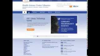 A review of the homepage of the Health Science Center Library at the University Of Florida.