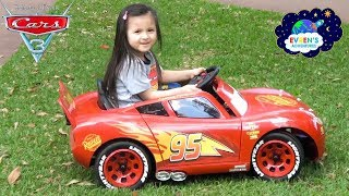 New Disney Cars 3 Lightning McQueen Battery-Powered Ride On Car Unboxing and Test drive with Evren