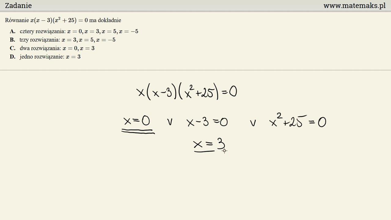 Zadanie – równanie wielomianowe
