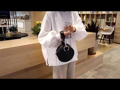 kirahosi 작은 가방 여성 새로운 파도 개성 휴대용 악어 패턴 어깨 작은 원형 가방 +덧신증정 Rb47fbd