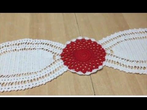 Tuto chemin de table au crochet special gaucher 2 2 youtube - Napperon crochet chemin de table ...