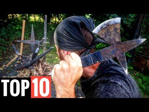 TOP 10 Throwing Weapons: Naruto Giant Shuriken (JoergSprave) Steel Cards