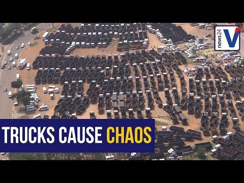 Over 250 truck drivers bring Pretoria to grinding halt
