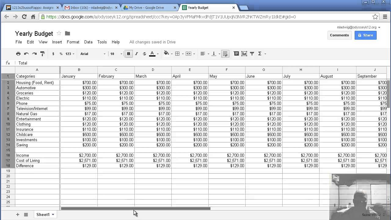 Making a yearly budget with google spreadsheet youtube for Annual household budget template