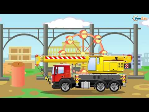 Little Cars & Trucks Construction Cartoons for children - The Yellow Crane and The Truck