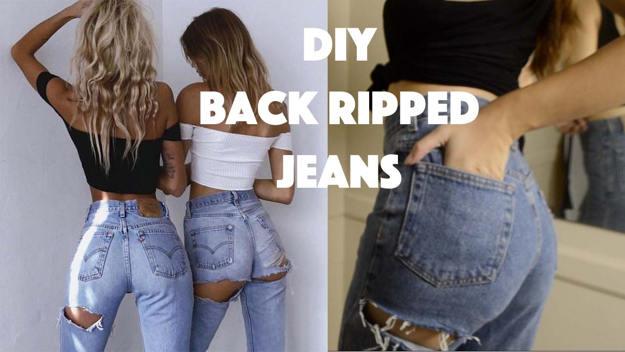 DIY Back Ripped Jeans I Upcycle Thrifted Jeans - YouTube