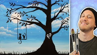 Cats Sitting on a Tree Swing  - Painting Class for BEGINNERS