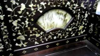 Vintage Red Wood Mother Of Pearl Inlay Day Bed S647m