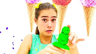 나스탸와 아르템 그리고 미아는 어린이들을 위해 과일 아이스크림을 만들어요