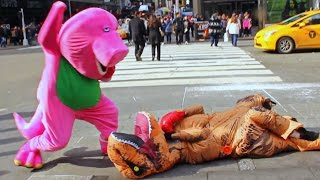 Barney VS T-Rex Epic Fight Prank In NYC!