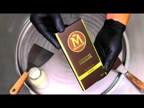 MAGNUM Ice Cream Rolls | MAGNUM Signature Chocolate Ice Cream Recipe – fried rolled Ice Cream | ASMR