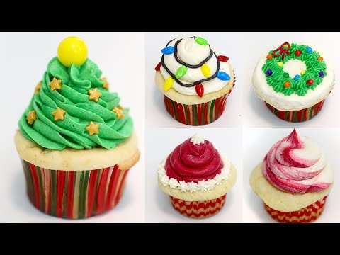 5 EASY CHRISTMAS CUPCAKES RECIPES | CHRISTMAS TREE, SANTA HAT, WREATH, CANDY CANE AND TREE LIGHTS