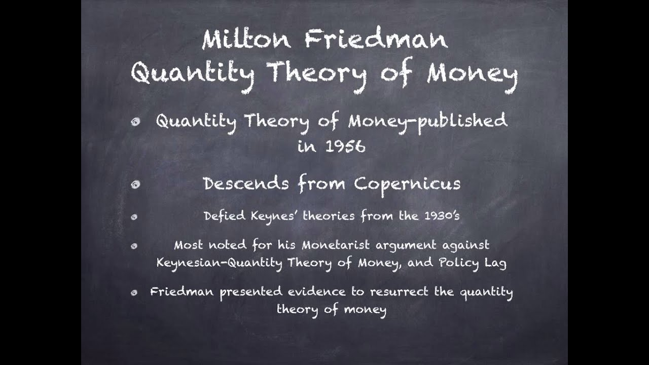 milton friedman s quantity theory of money milton friedman s quantity theory of money