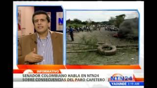 Senador colombiano asegura que el paro cafetero genera desabastecimiento