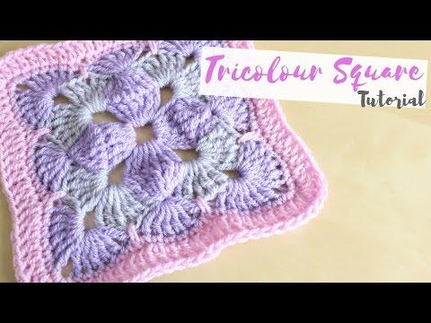 CROCHET: Tricolour square tutorial | Bella Coco