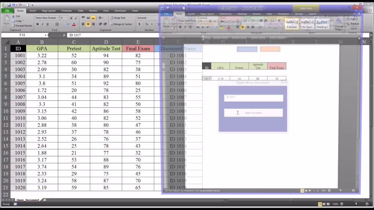 Open Word Document from Excel VBA UserForm - YouTube