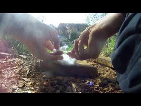 First successful Fire roll - 100% primitive ochre slabs ... but modern cotton