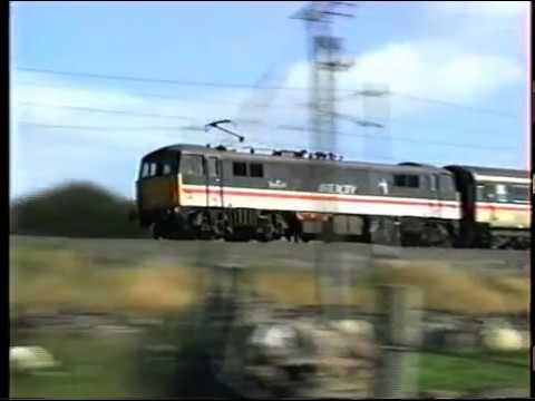 Class 87 climbs Shap at Scout Green on a down train. 1998.