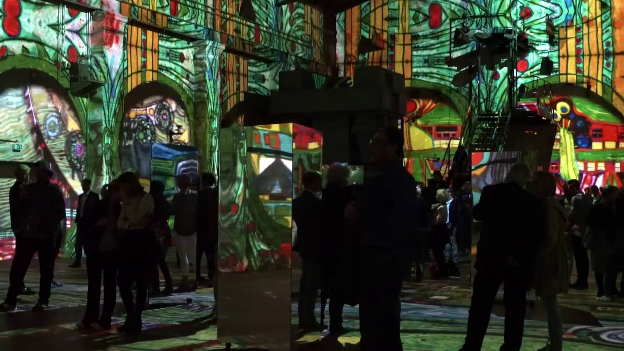 hundertwasser experience by immersive art factory image video youtube. Black Bedroom Furniture Sets. Home Design Ideas