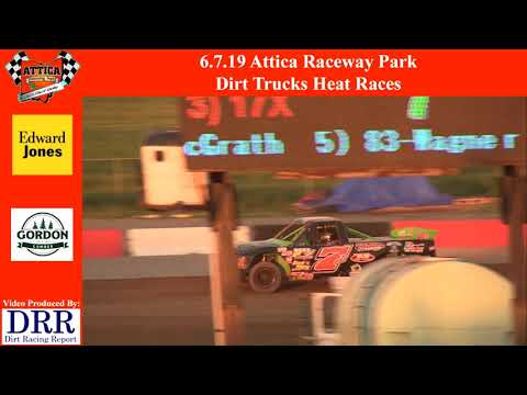 6.7.19 Attica Raceway Park Dirt Trucks Heat Races