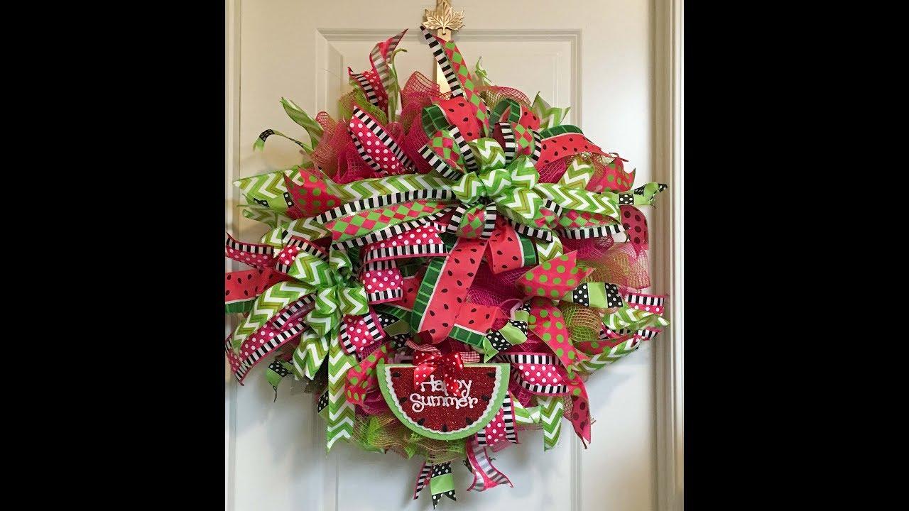 how to make a deco mesh ruffle watermelon wreath