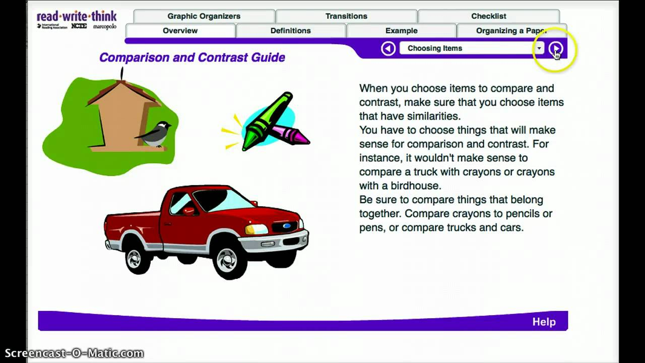 compare and contrast two cars There are two main reasons that people use comparison and contrast: 1 or compare trucks and cars in compare and contrast writing.