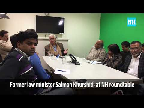 Former law minister Salman Khurshid, meeting journalists at a National Herald roundtable.