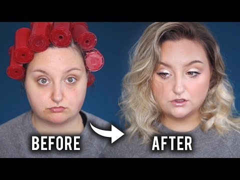 EASY NATURAL EVERY DAY MAKEUP + HOW TO STEAM CURL HAIR