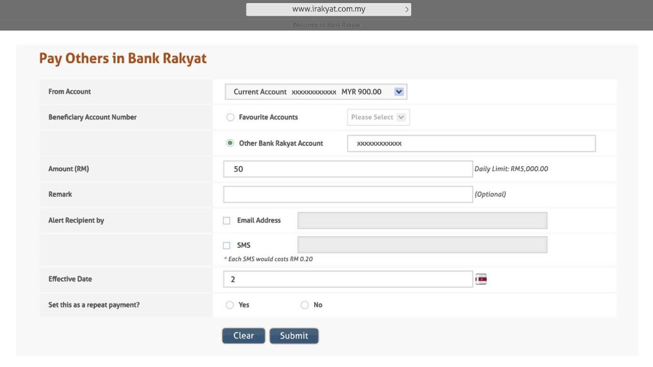 Bank Rakyat I Rakyat Fund Transfer To Other Bank Rakyat Accounts Youtube