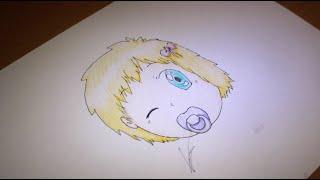 How I draw anime, female baby head - speed draw.