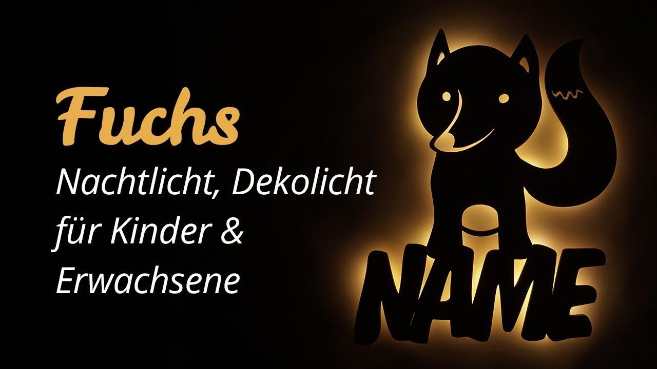 Fuchs Kinder Erwachsene Geschenke LED Licht Lampe mit Name - YouTube