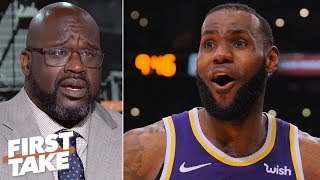 shaq predicts lebron will be on the lakers mt rushmore if he 3 peats with ad first take
