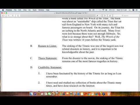 Informative Speech: Working On Full-Sentence, Full-Content Outline