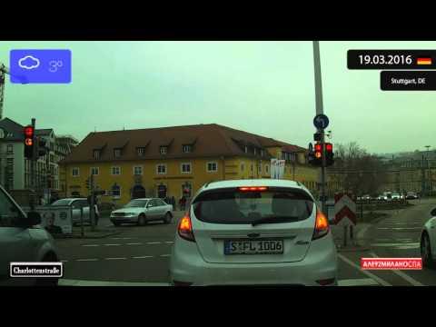 Driving through Stuttgart (Germany) from Degerloch to Rathaus 19.03.2016 Timelapse x4