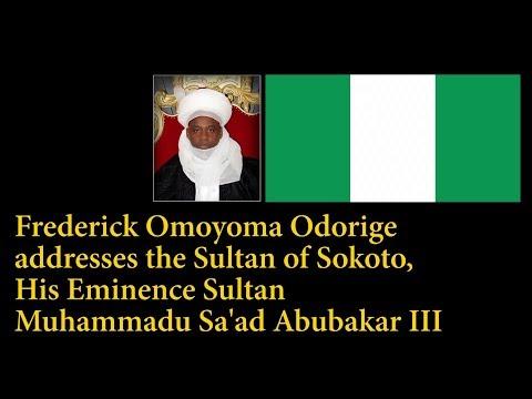 Frederick Omoyoma Odorige addresses the Sultan of Sokoto