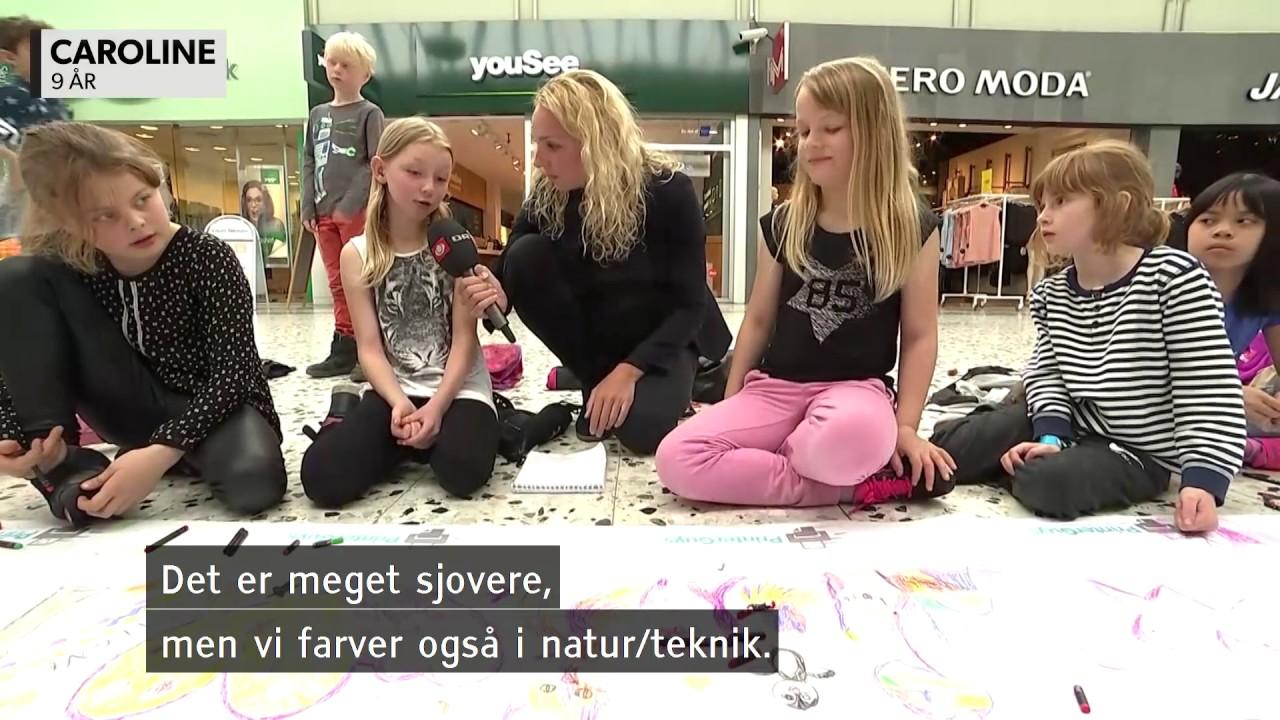 VIDEO Her tegner børn 214 meter lang rekord - DR Nyheder