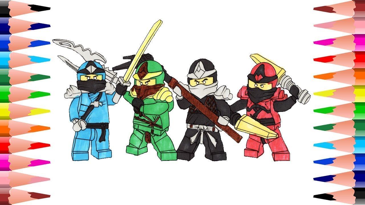 Painting Lego Ninjago Coloring Book Coloring Jay Lloy Nya And