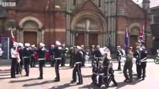 Orange Order play Famine song outside St. Patricks church Belfast