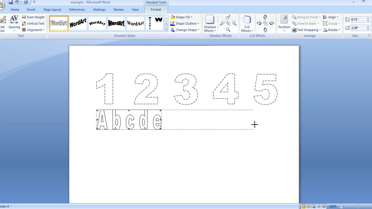 how to make dashed letters and number tracing in microsoft word 2007 by  using wordart